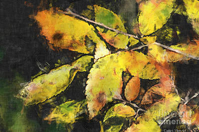 Photograph - Golden Autumn Leaves - Digital Paint I by Debbie Portwood