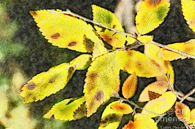Photograph - Golden Autumn Leaves - Digital Paint IIi by Debbie Portwood