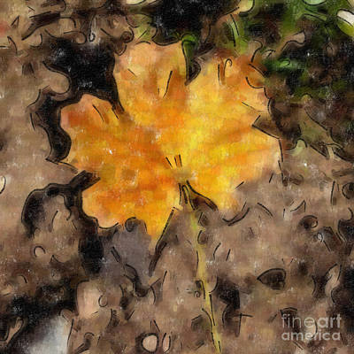 Digital Art - Golden Autumn Maple Leaf Filtered by Conni Schaftenaar