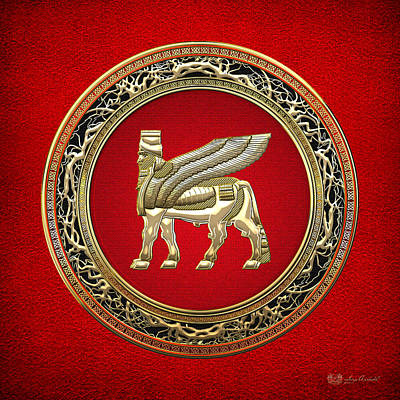 Digital Art - Golden Babylonian Winged Bull  by Serge Averbukh