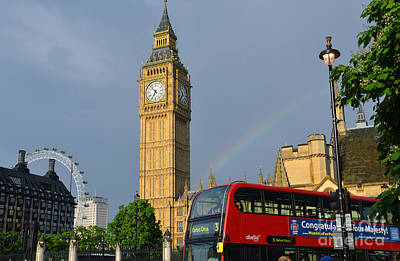 Photograph - Golden Big Ben London Eye And Bus Under The Rainbow by RicardMN Photography