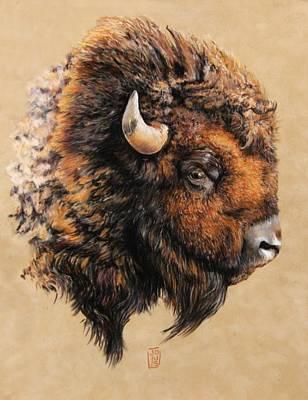 Debra Jones Pastel - Golden Bison by Debra Jones