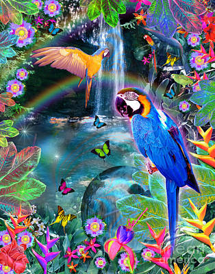Parrot Digital Art - Golden Bluebirds Paradise Version 2 by Alixandra Mullins