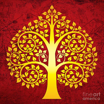 Bodhi Tree Digital Art - Golden Bodhi Tree No.1 by Bobbi Freelance