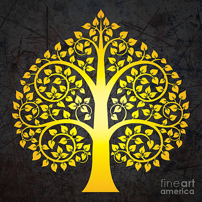 Bodhi Tree Digital Art - Golden Bodhi Tree No.3 by Bobbi Freelance