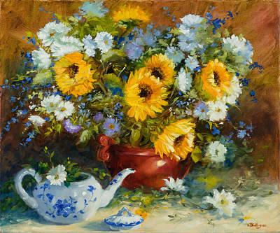 Teapot Painting - Golden Bouquet by Cheri Baillargeon