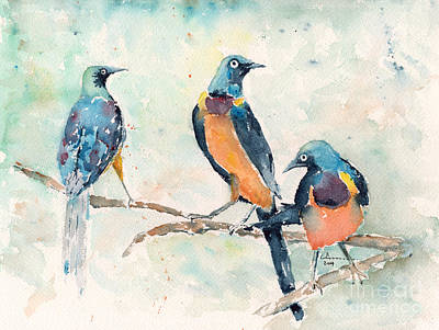 Starlings Painting - Golden-breasted Starlings by Claudia Hafner