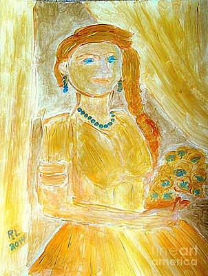 Painting - Golden Bride With Crossed Fingers 1 by Richard W Linford
