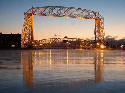 Duluth Photograph - Golden Bridge by Alison Gimpel