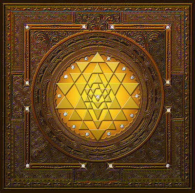 Digital Art - Golden-briliant Sri Yantra by Lila Shravani