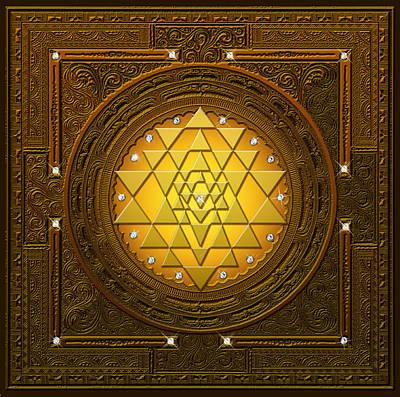 Digital Art - Golden-briliant Sri Yantra by Lila Shravani