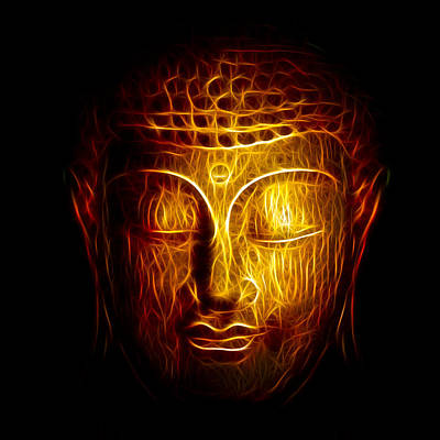 Warm Digital Art - Golden Buddha Abstract by Adam Romanowicz