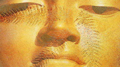 Joy Mixed Media - Golden Buddha - Art By Sharon Cummings by Sharon Cummings