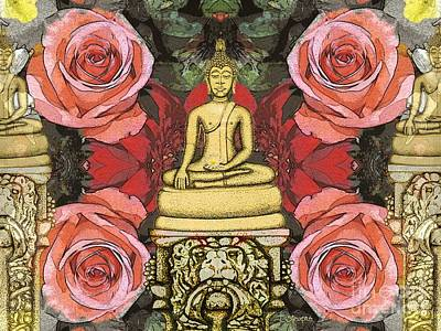 Art Print featuring the painting Golden Buddha In The Garden by Joseph J Stevens