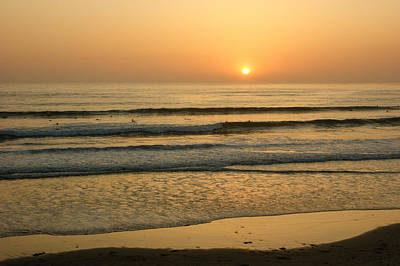 Golden California Sunset - Ocean Waves Sun And Surfers Art Print by Georgia Mizuleva