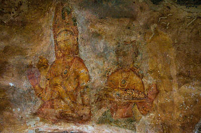 Photograph - Golden Cave Painting In Sigiriya. Sri Lanka by Jenny Rainbow