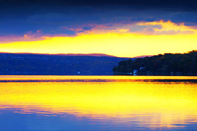 Golden Cayuga Lake Ithaca New York Print by Paul Ge