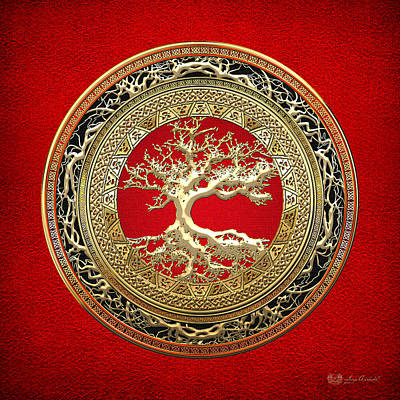 Golden Celtic Tree Of Life  Art Print by Serge Averbukh