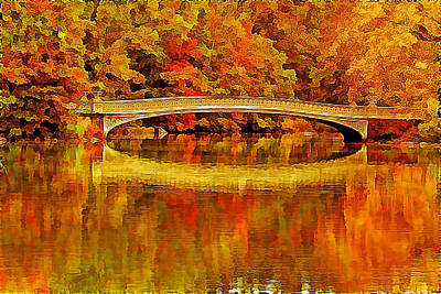 Golden Central Park Bow Bridge In Fall Print by Geraldine Scull