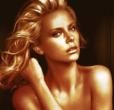 Charlize Theron Photograph - Golden Charlize by Florentina Maria Popescu