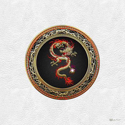 Digital Art - Golden Chinese Dragon Fucanglong On White Leather  by Serge Averbukh