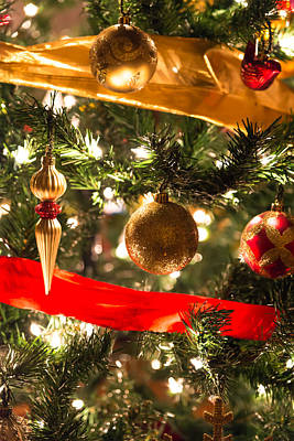 Christmas Photograph - Golden Christmas Ornaments by AMB Fine Art Photography