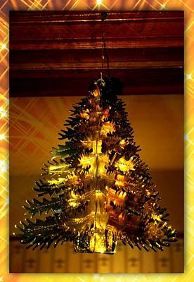 Digital Art - Golden Christmas Tree by Holley Jacobs