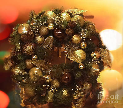 Photograph - Golden Christmas Wreath by Luther Fine Art