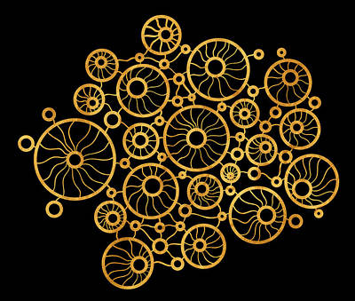 Shape Drawing - Golden Circles Black by Frank Tschakert