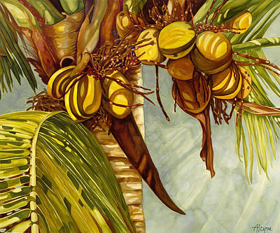Painting - Golden Coconuts by Artimis Alcyone