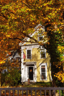 Autumn Scene Photograph - Golden Colonial by Joann Vitali