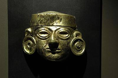Precolumbian Photograph - Golden Copper Mask 3rd C. Ad, Part by Everett