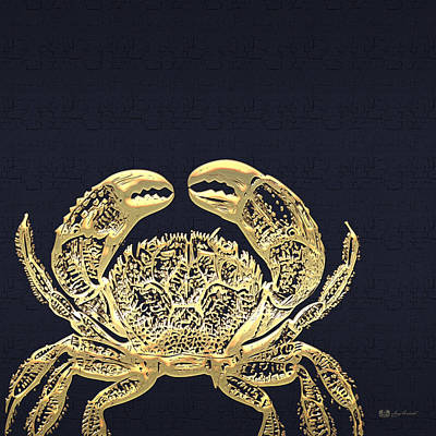 Golden Crab On Charcoal Black Original by Serge Averbukh