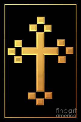 Panoramic Digital Art - Golden Cross 5 by Rose Santuci-Sofranko