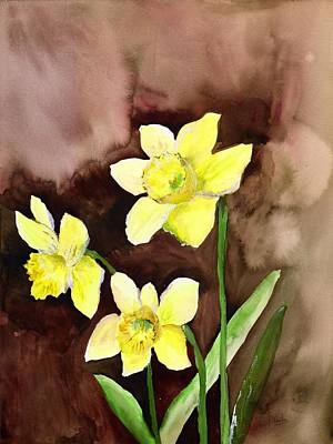 Umber Painting - Golden Daffodils by Neela Pushparaj