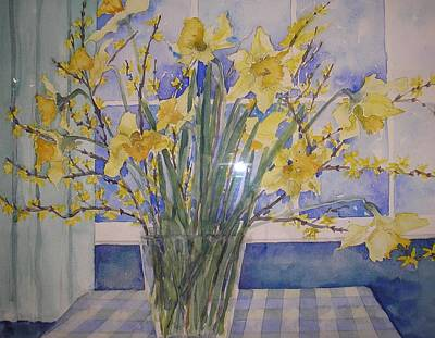 Golden Daffodils Art Print by Wendy Head