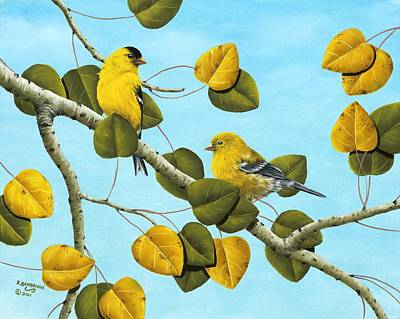 Finch Painting - Golden Days by Rick Bainbridge