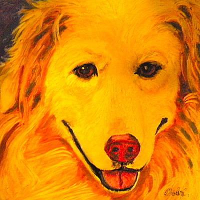 Doggie Art Painting - Golden by Debi Starr