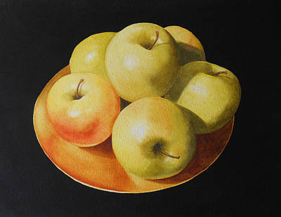 Golden Delicious Apples Art Print by Jean Yates