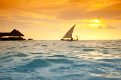 Ocean Sailing Photograph - Golden Dhoni Sunset by Sean Davey