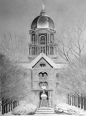 Ncaa Basketball Drawing - Golden Dome by Andy Crothers