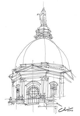 Art Print featuring the drawing Golden Dome Sketch by Calvin Durham