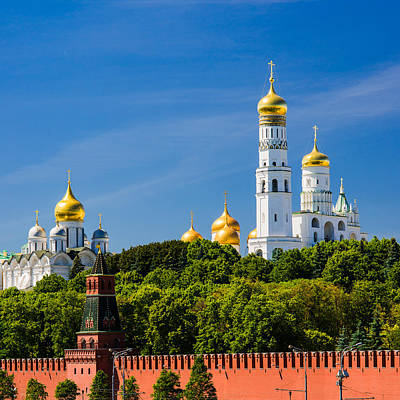 Golden Domes Of Moscow Kremlin - Featured 3 Art Print