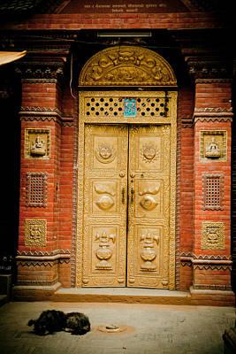 Golden Door In Kathamndu Art Print by Raimond Klavins