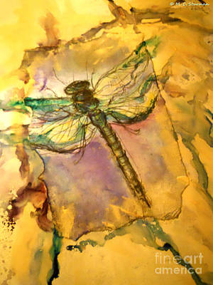 Painting - Golden Dragonfly by M C Sturman