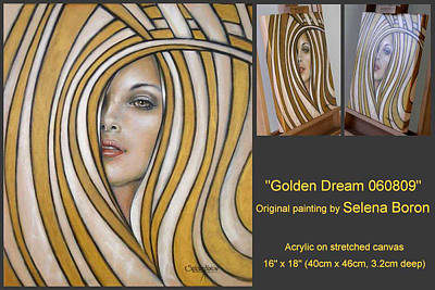Art Print featuring the painting Golden Dream 060809 Comp by Selena Boron