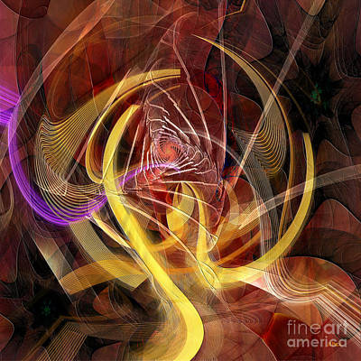 Digital Art - Golden Dynamic - Square Version by John Beck