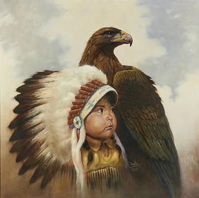 Indian Fine Art Painting - Golden Eagles by Gregory Perillo
