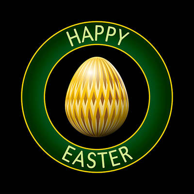 Easter Celebration Drawing - Golden Easter Egg by Alain De Maximy