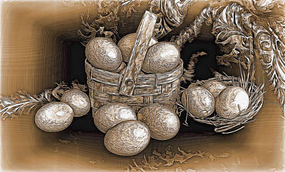 Mixed Media - Golden Eggs In A Basket by Pamela Walton